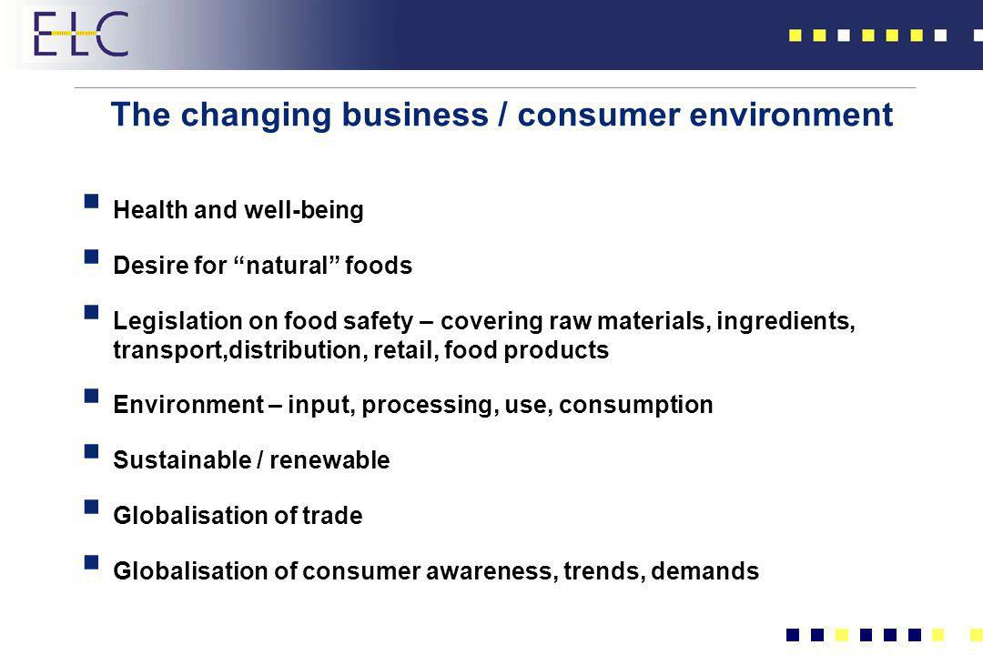 The changing business / consumer environment