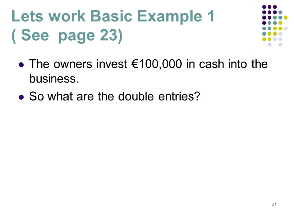 Lets work Basic Example 1 ( See page 23)‏