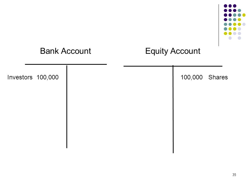 Bank Account Equity Account Investors 100,000 100,000 Shares