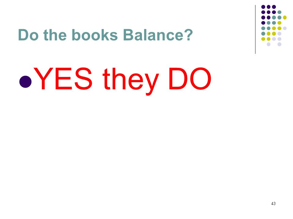 Do the books Balance YES they DO