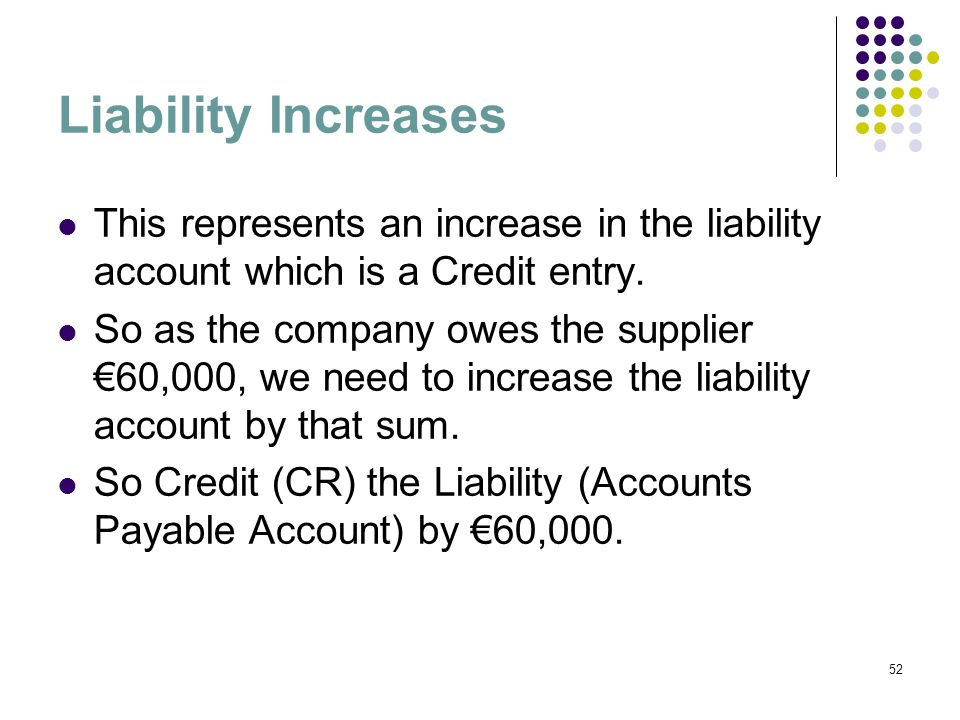 Liability Increases This represents an increase in the liability account which is a Credit entry.