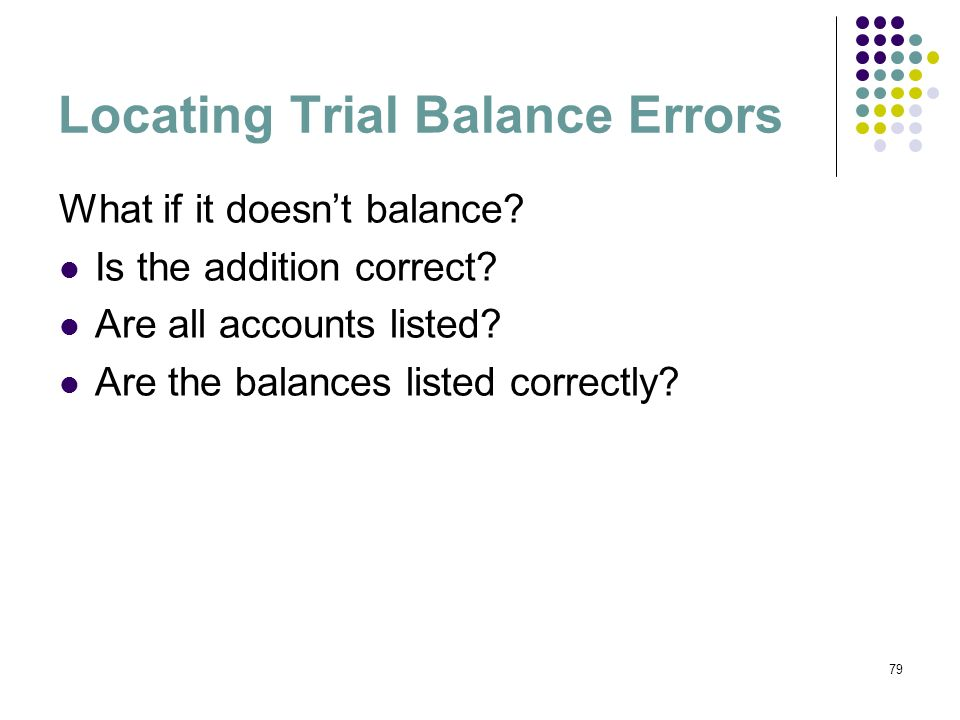 Locating Trial Balance Errors