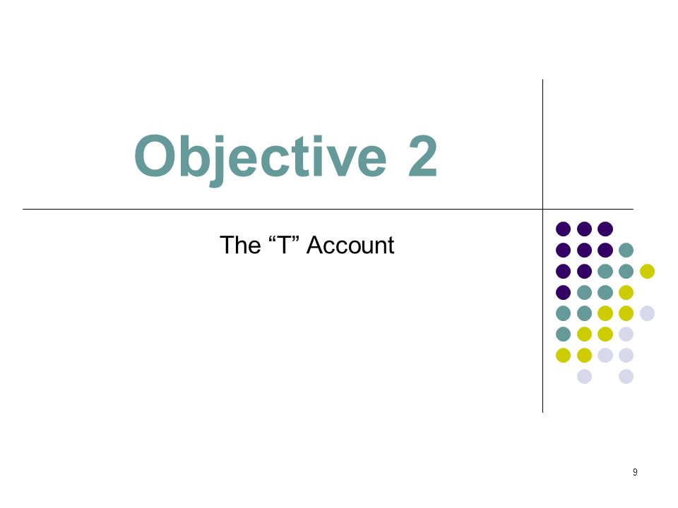 Objective 2 The T Account 1 1