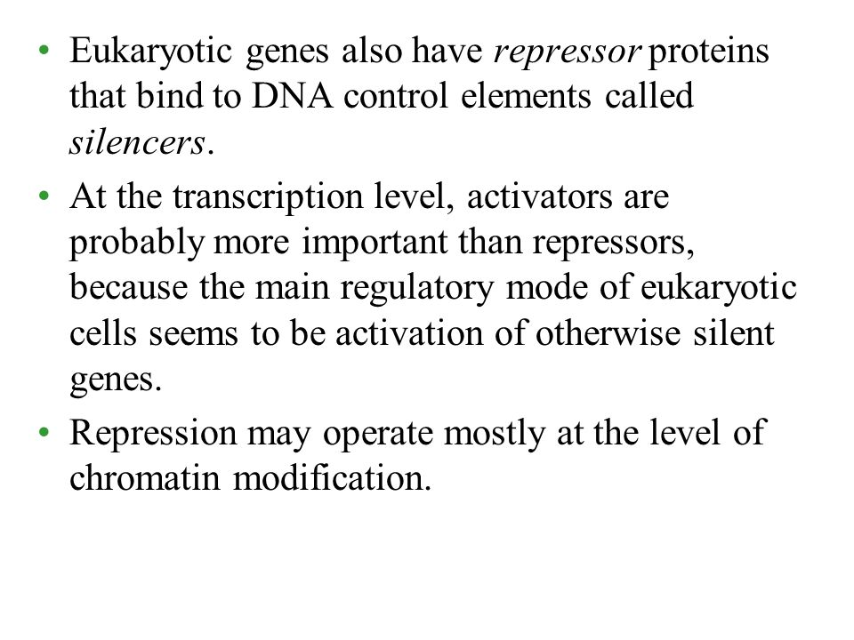 Eukaryotic genes also have repressor proteins that bind to DNA control elements called silencers.