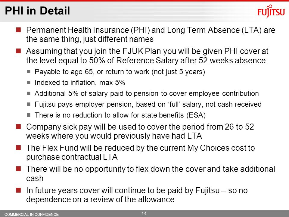PHI in Detail Permanent Health Insurance (PHI) and Long Term Absence (LTA) are the same thing, just different names.