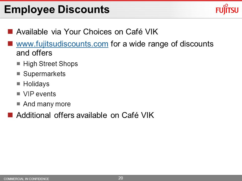 Employee Discounts Available via Your Choices on Café VIK