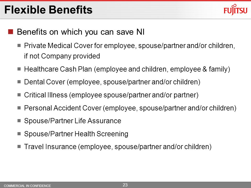Flexible Benefits Benefits on which you can save NI