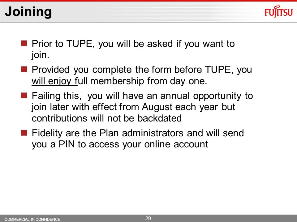 Joining Prior to TUPE, you will be asked if you want to join.