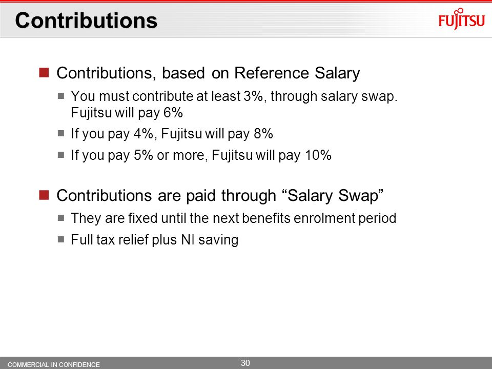 Contributions Contributions, based on Reference Salary