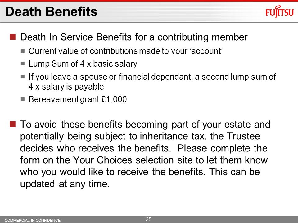 Death Benefits Death In Service Benefits for a contributing member