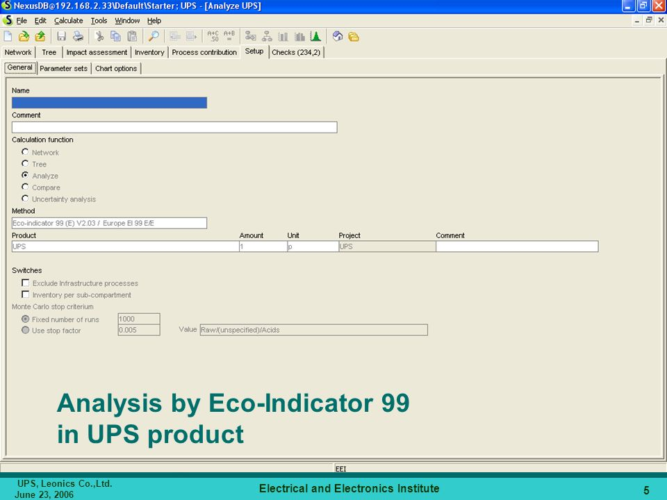 Analysis by Eco-Indicator 99 in UPS product