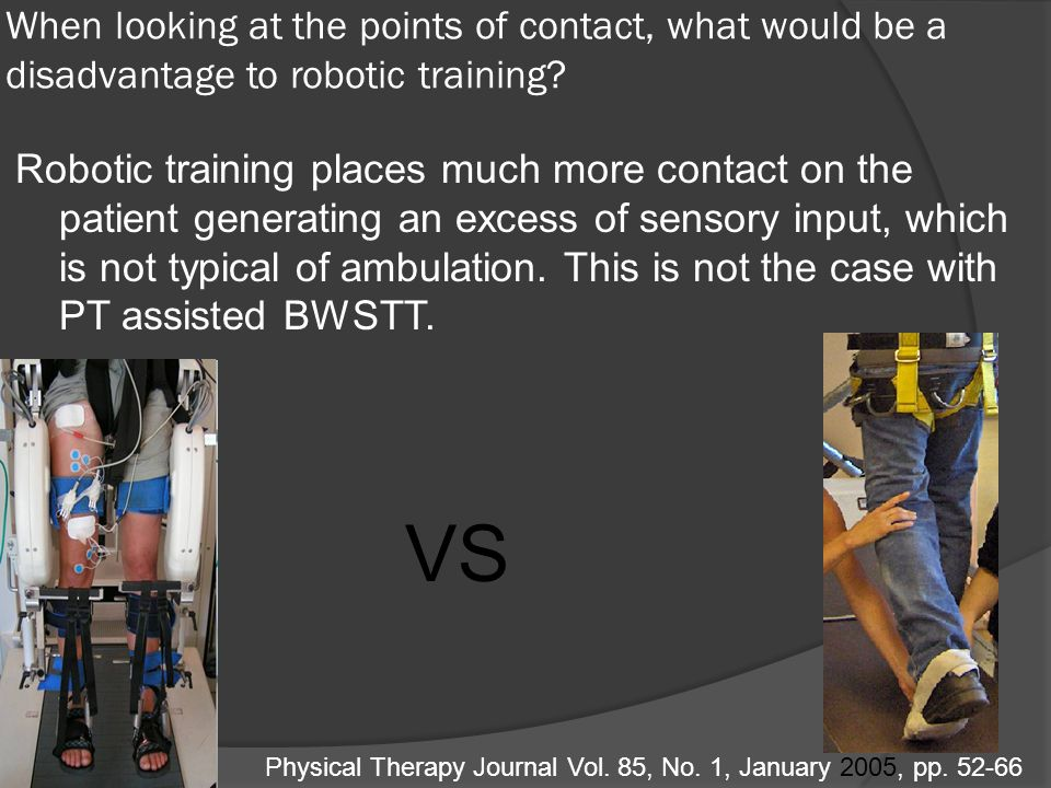 When looking at the points of contact, what would be a disadvantage to robotic training