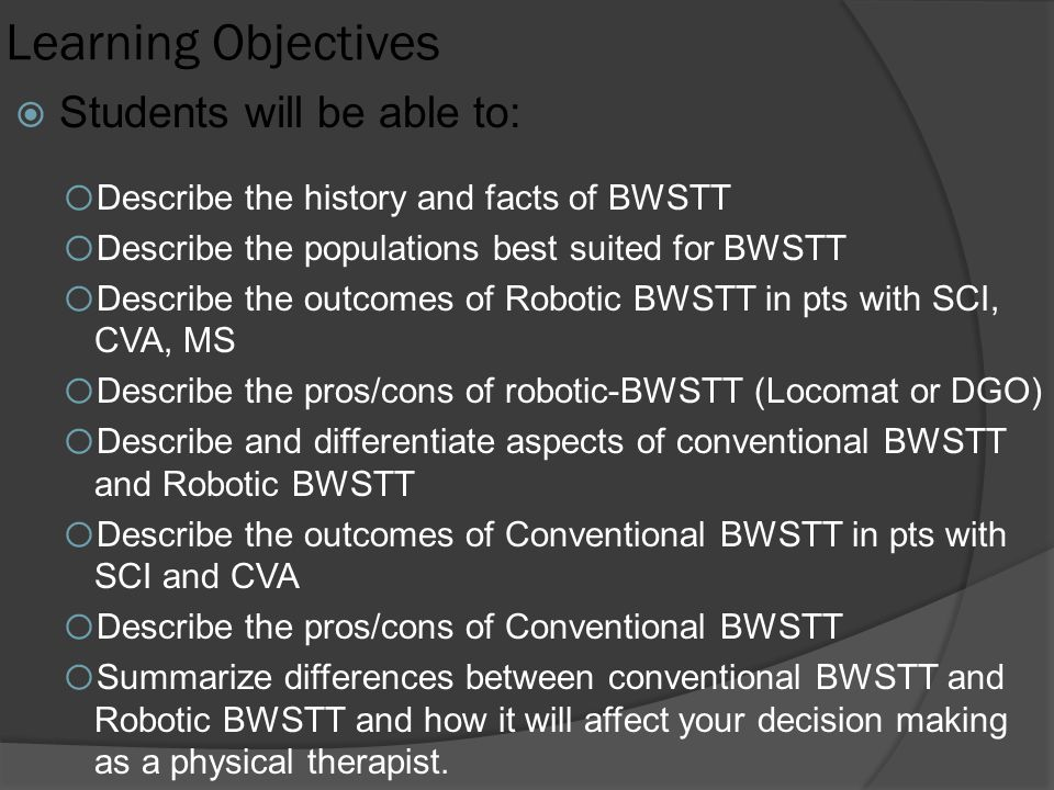 Learning Objectives Students will be able to:
