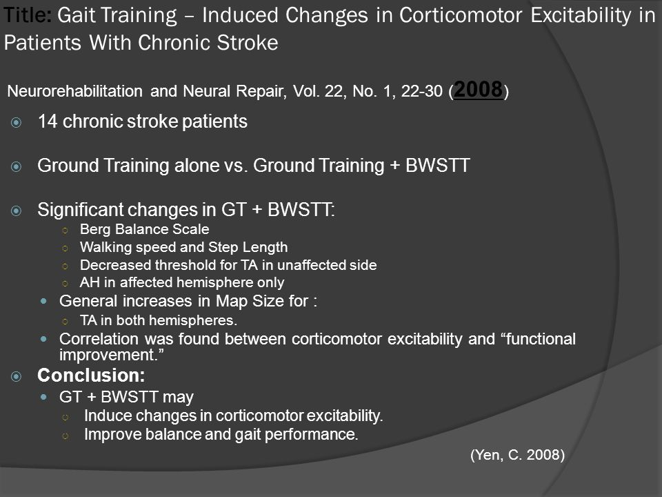 Title: Gait Training – Induced Changes in Corticomotor Excitability in Patients With Chronic Stroke