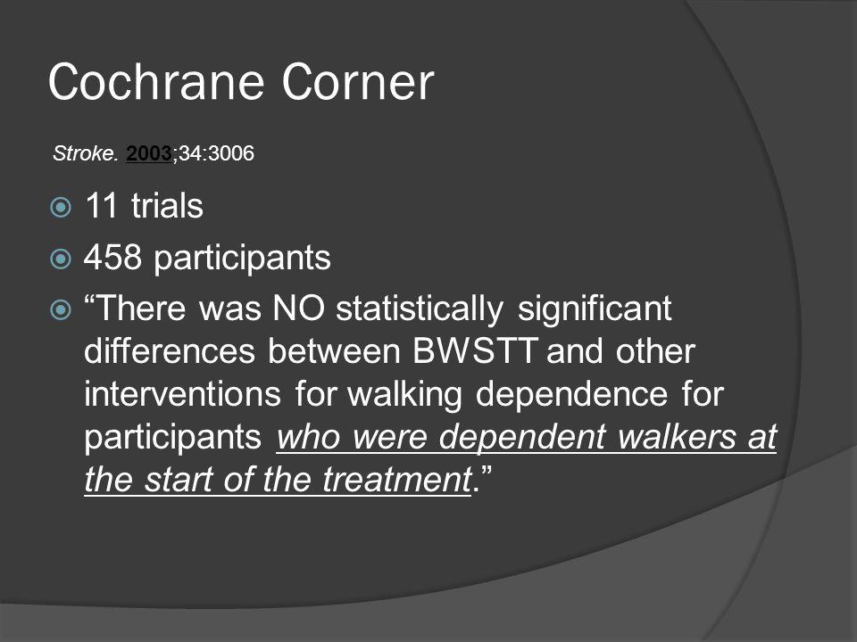 Cochrane Corner 11 trials 458 participants