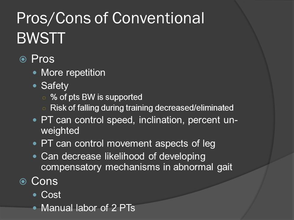 Pros/Cons of Conventional BWSTT