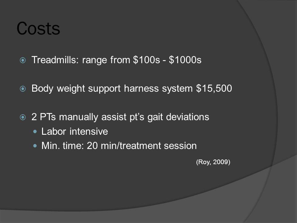 Costs (Roy, 2009) Treadmills: range from $100s - $1000s