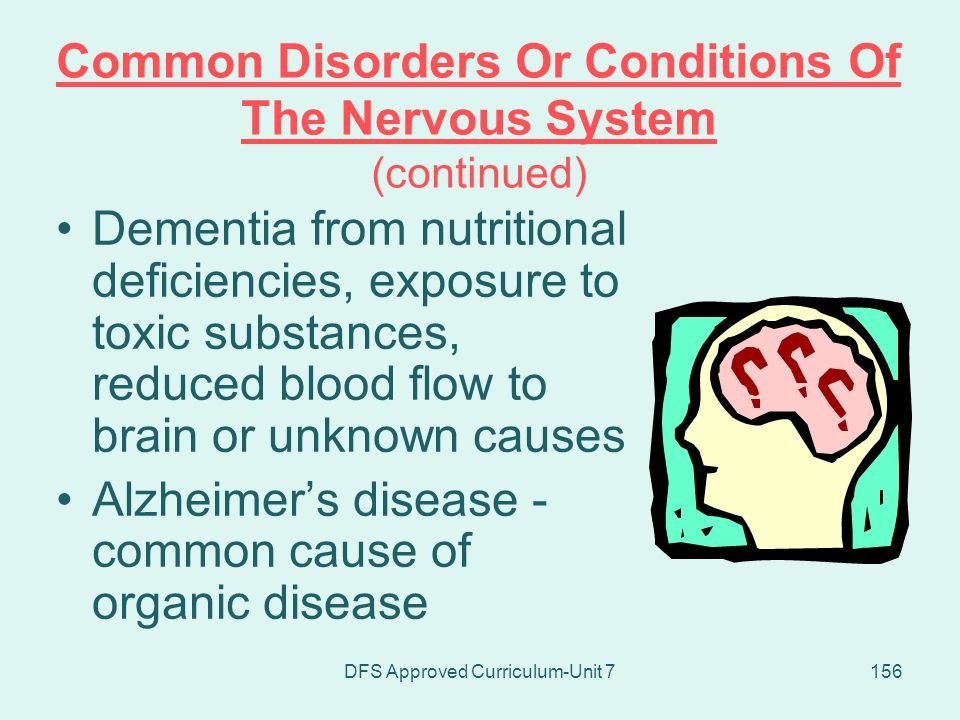 Common Disorders Or Conditions Of The Nervous System (continued)