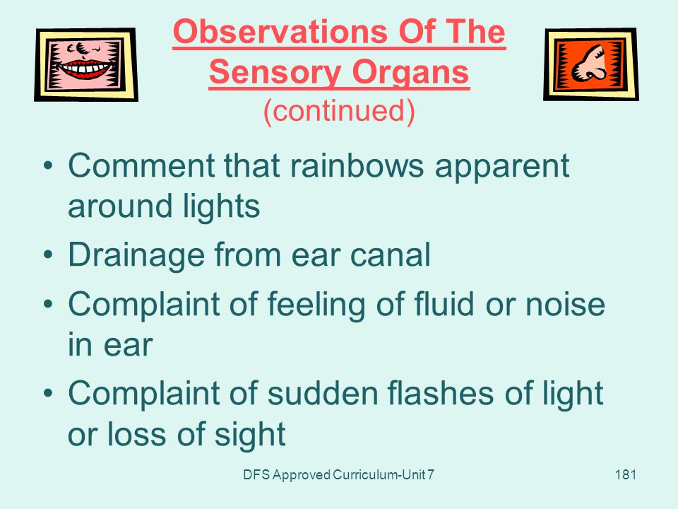 Observations Of The Sensory Organs (continued)