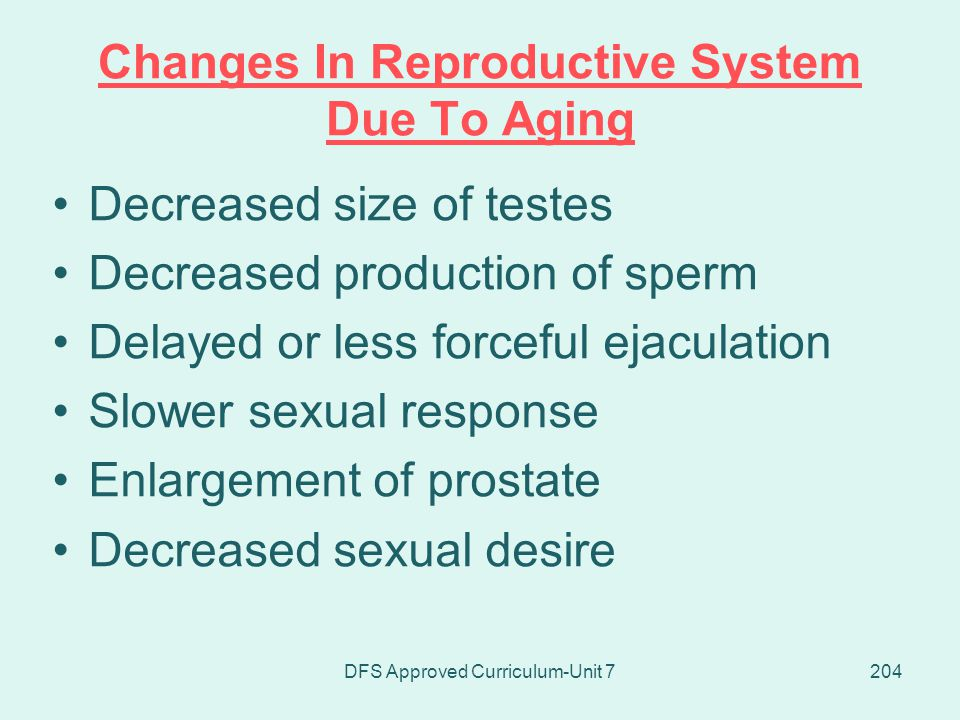 Changes In Reproductive System Due To Aging