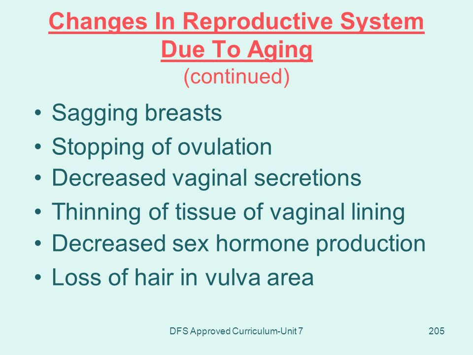 Changes In Reproductive System Due To Aging (continued)