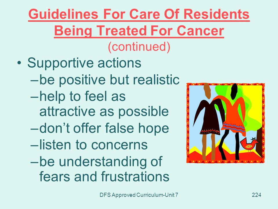 Guidelines For Care Of Residents Being Treated For Cancer (continued)