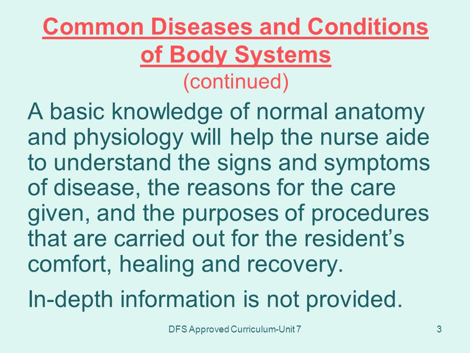 Common Diseases and Conditions of Body Systems (continued)