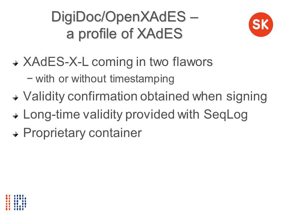 DigiDoc/OpenXAdES – a profile of XAdES