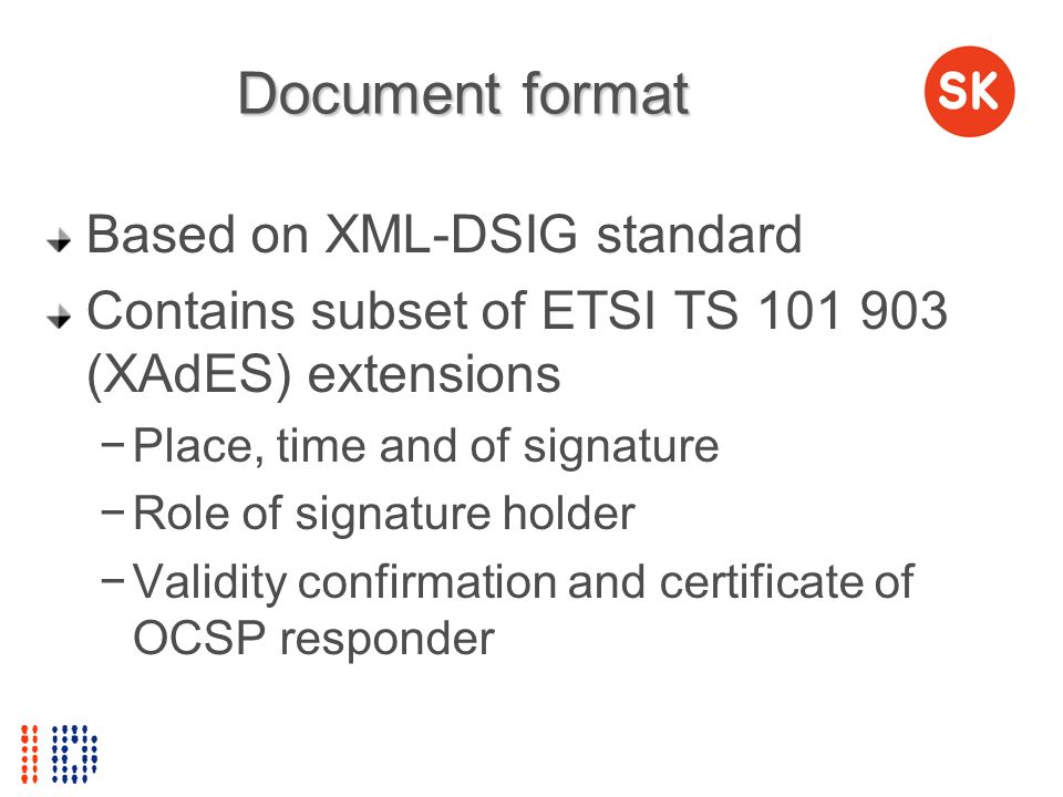 Document format Based on XML-DSIG standard