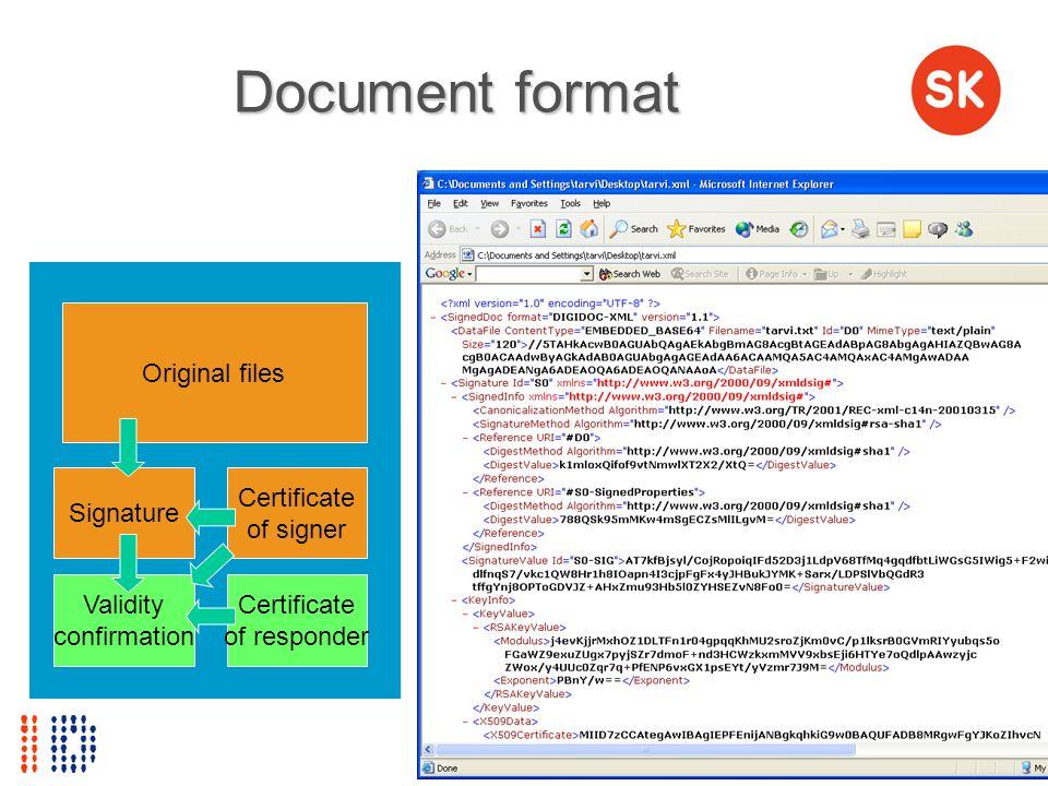 Document format Original files Signature Certificate of signer