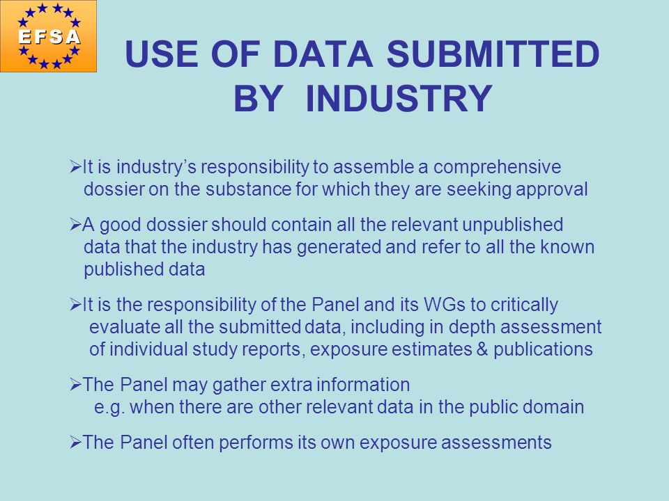 USE OF DATA SUBMITTED BY INDUSTRY