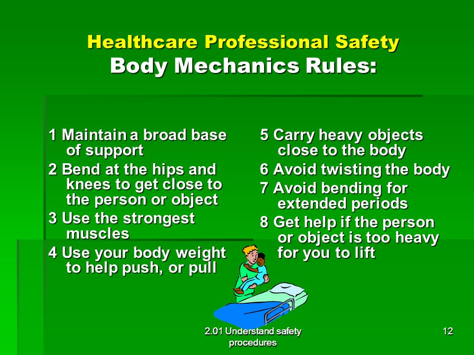 Healthcare Professional Safety Body Mechanics Rules: