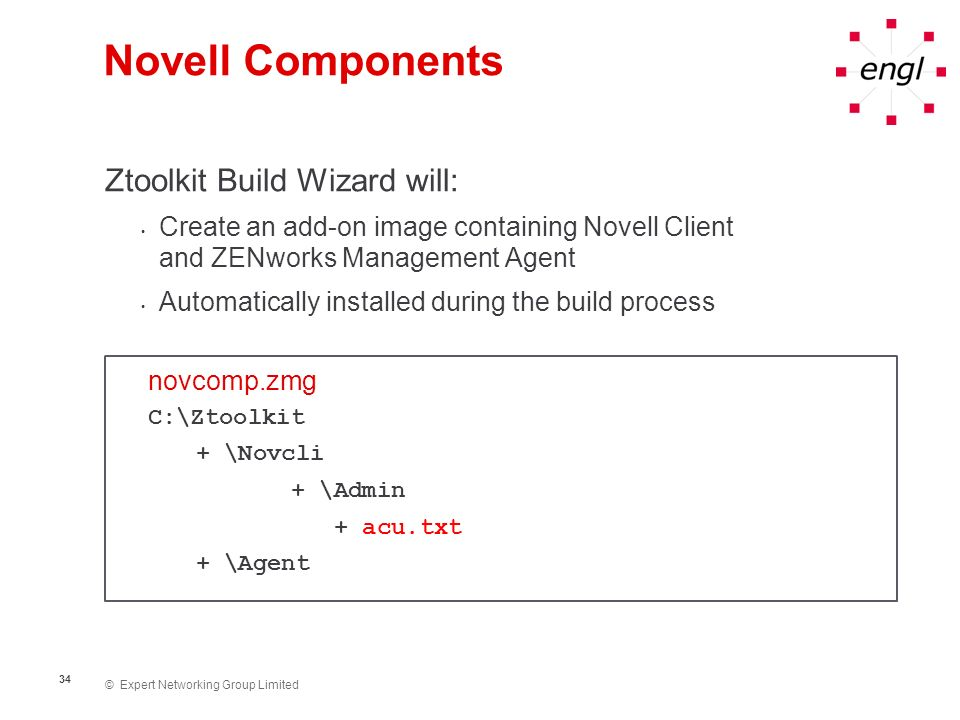 Novell Components Ztoolkit Build Wizard will:
