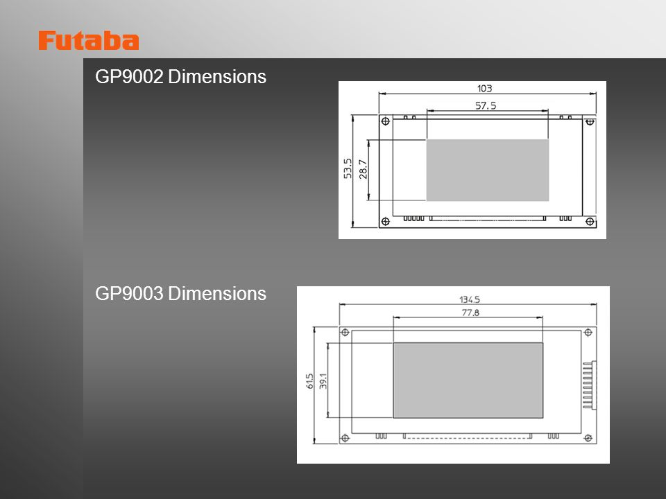 GP9002 Dimensions GP9003 Dimensions