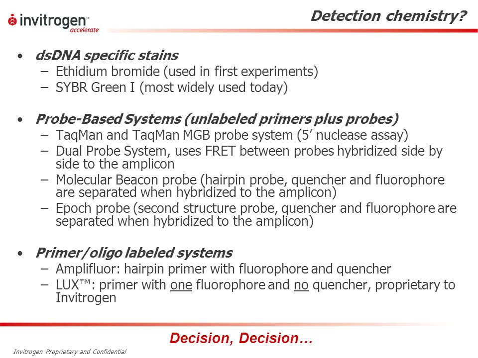 Detection chemistry Decision, Decision… dsDNA specific stains