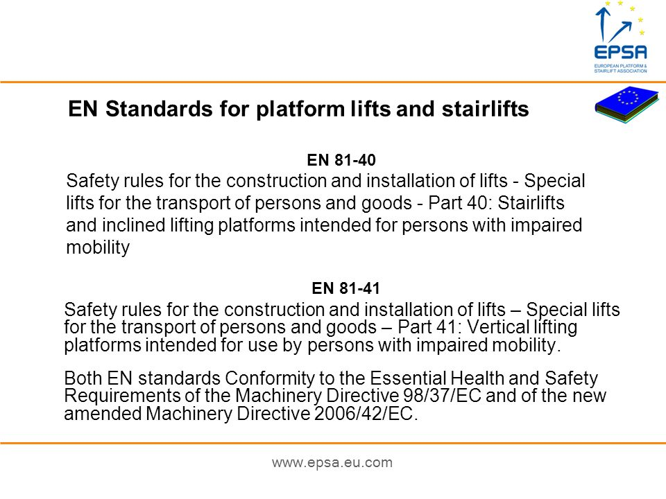 EN Standards for platform lifts and stairlifts