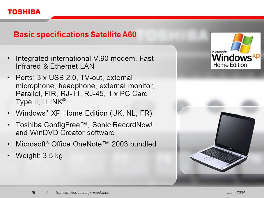 Basic specifications Satellite A60