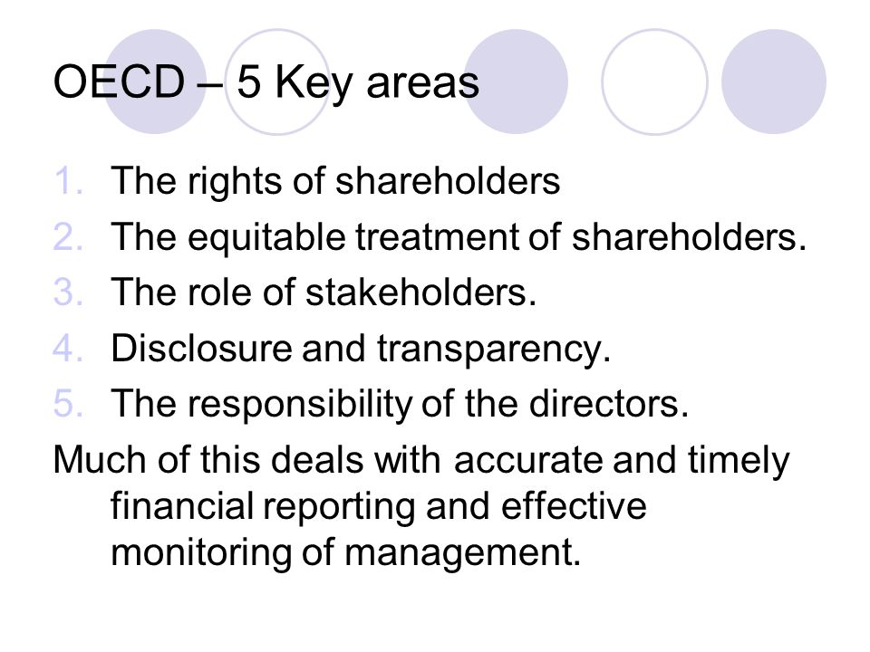 OECD – 5 Key areas The rights of shareholders