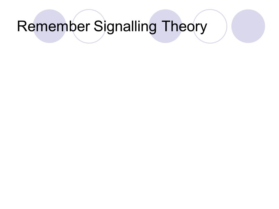 Remember Signalling Theory