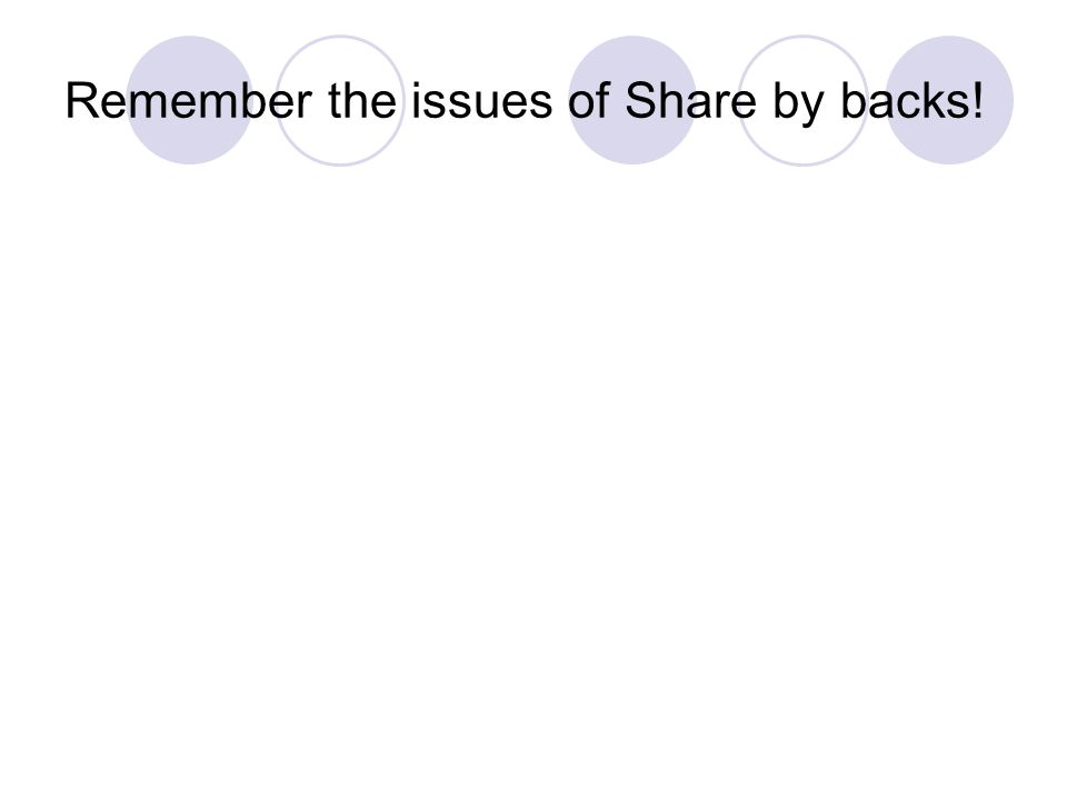Remember the issues of Share by backs!