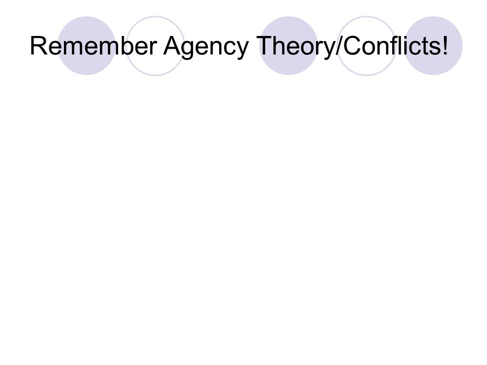 Remember Agency Theory/Conflicts!