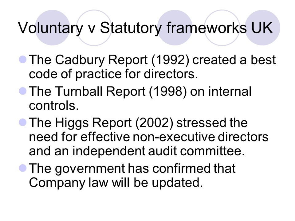 Voluntary v Statutory frameworks UK