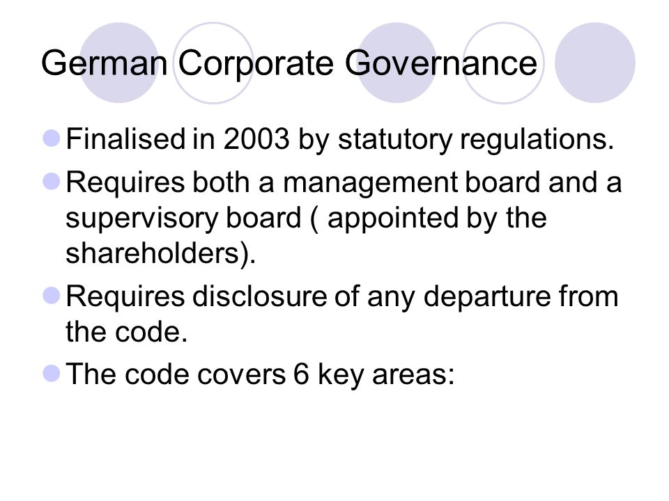 German Corporate Governance