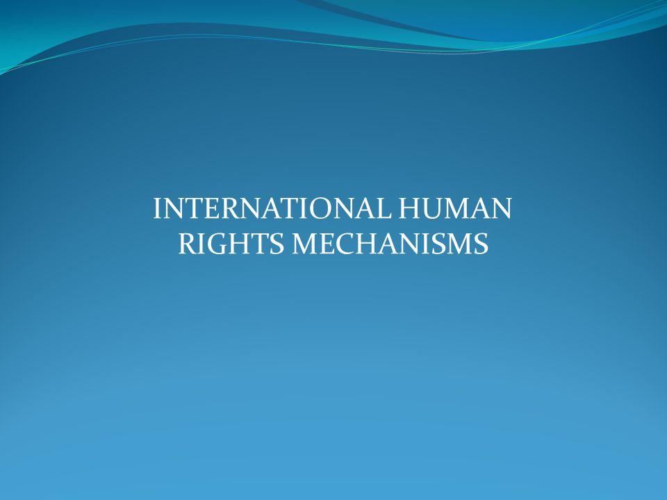 INTERNATIONAL HUMAN RIGHTS MECHANISMS
