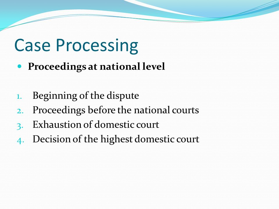 Case Processing Proceedings at national level Beginning of the dispute