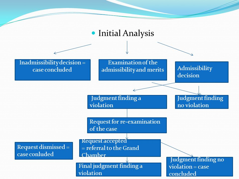 Initial Analysis Inadmissibility decision = case concluded