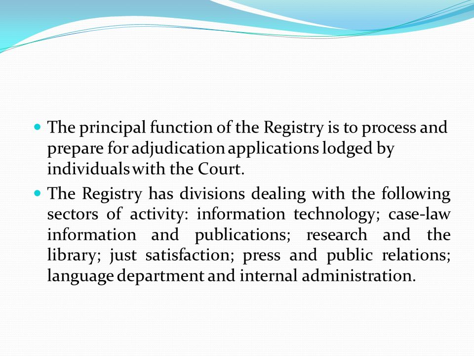 The principal function of the Registry is to process and prepare for adjudication applications lodged by individuals with the Court.