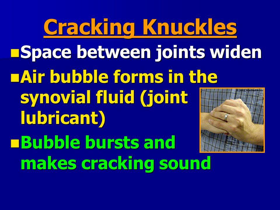 Cracking Knuckles Space between joints widen