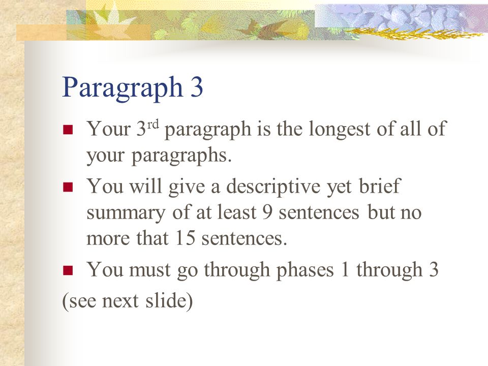 Paragraph 3 Your 3rd paragraph is the longest of all of your paragraphs.