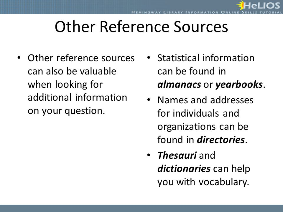Other Reference Sources